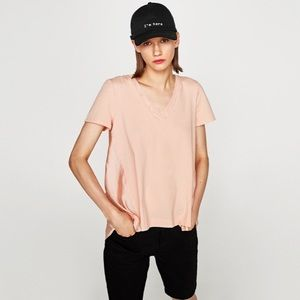 Zara Contrasting T-Shirt w/ Irregular Hem